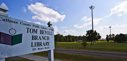 Colony, Alabama, Tom Bevill Library Sign with Ballfields in the background